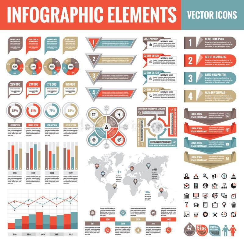 Het malplaatjeinzameling van Infographicelementen - bedrijfs vectorillustratie in vlakke ontwerpstijl voor presentatie, boekje, w stock illustratie