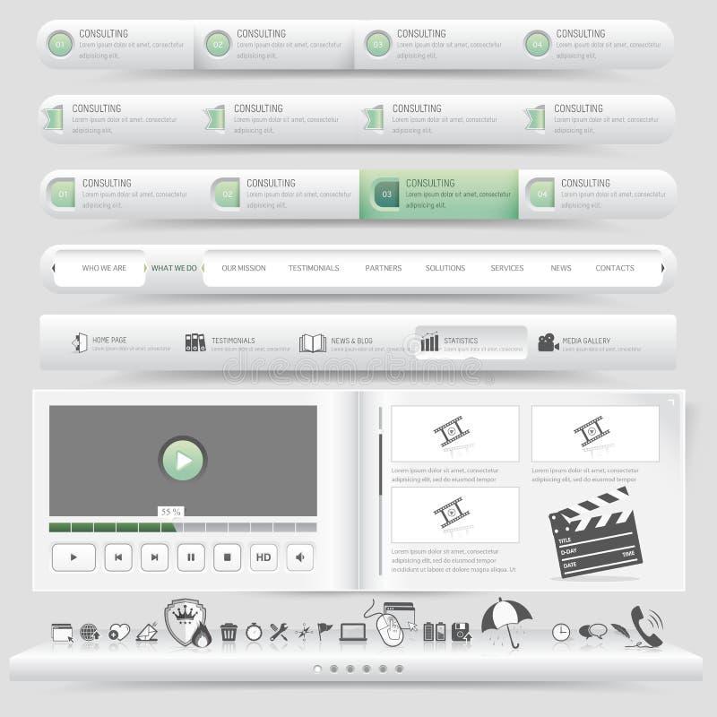 Het malplaatjenavigatie van het websiteontwerp met pictogramreeks die wordt geplaatst stock illustratie