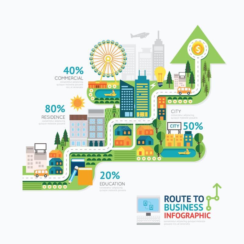 Het malplaatjeontwerp Infographic van de bedrijfspijlvorm route aan succes royalty-vrije illustratie