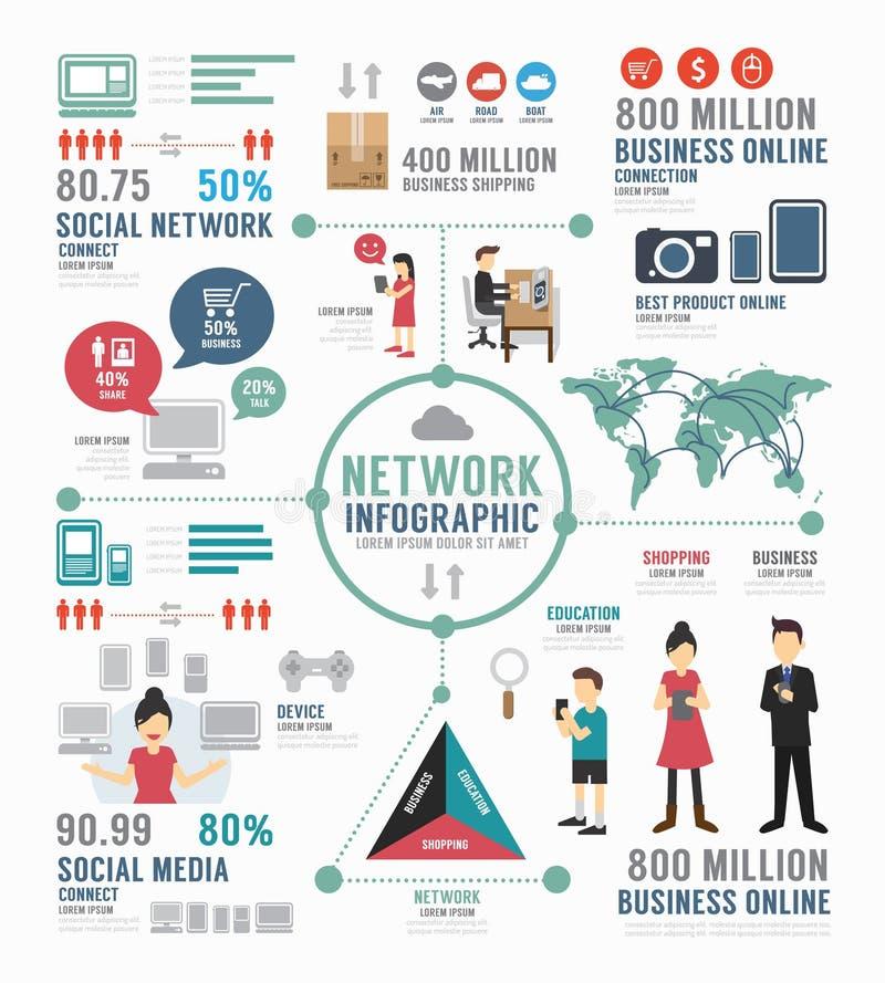 Het malplaatjeontwerp van het Infographic sociaal netwerk conceptenvector