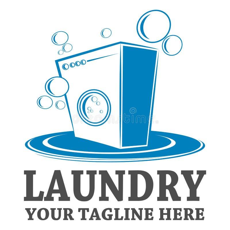 Het malplaatjeontwerp van het wasserijembleem vector illustratie