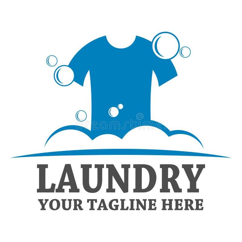 Het malplaatjeontwerp van het wasserijembleem royalty-vrije illustratie