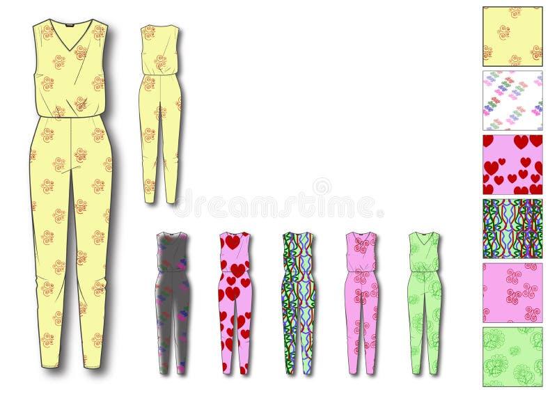 Het malplaatjeontwerp van Jumpsuit van de meisjes Lang Lengte stock illustratie
