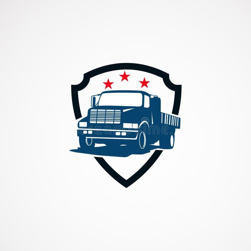Het malplaatjeontwerpen van het vrachtwagen veilige embleem voor zaken vector illustratie