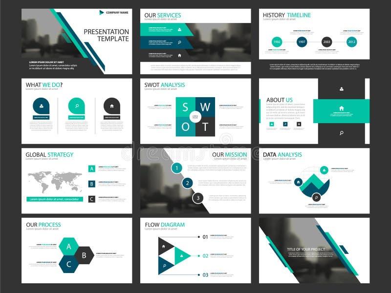 Het malplaatjereeks van bedrijfspresentatie infographic elementen, ontwerp van de jaarverslag het collectieve horizontale brochur royalty-vrije illustratie