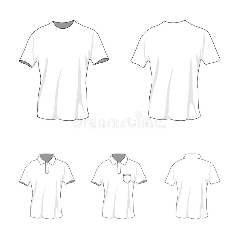 Het malplaatjereeks van het t-shirtpolo, voor en achtermening royalty-vrije stock foto