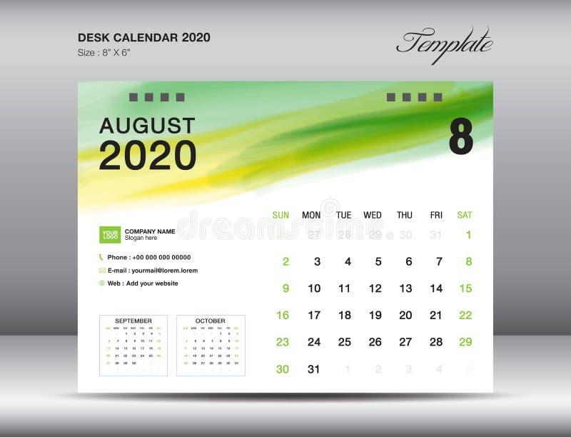 Het malplaatjevector van de bureaukalender 2020, de maand van AUGUSTUS 2020 met groene waterverfkwaststreek, bedrijfslay-out, 8x6 vector illustratie