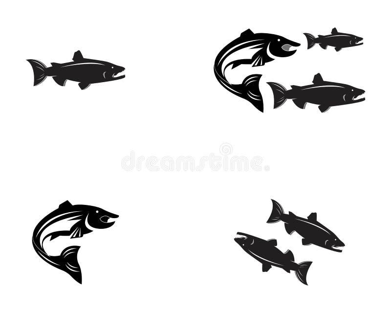 het malplaatjezalm van het vissen vectorsilhouet royalty-vrije illustratie