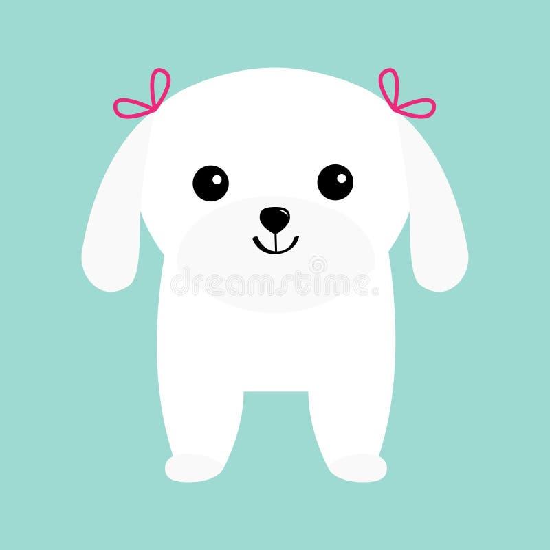 Het Maltese Witte schoothondje van het hondpuppy Dierlijke pictogramreeks Leuk beeldverhaalkarakter Huisdierinzameling Keur conce royalty-vrije illustratie
