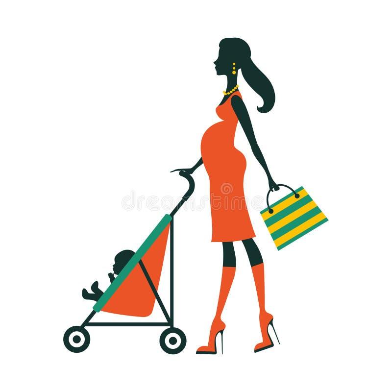 Het mamma die van de kuikenmanier met haar baby in a winkelen stock illustratie