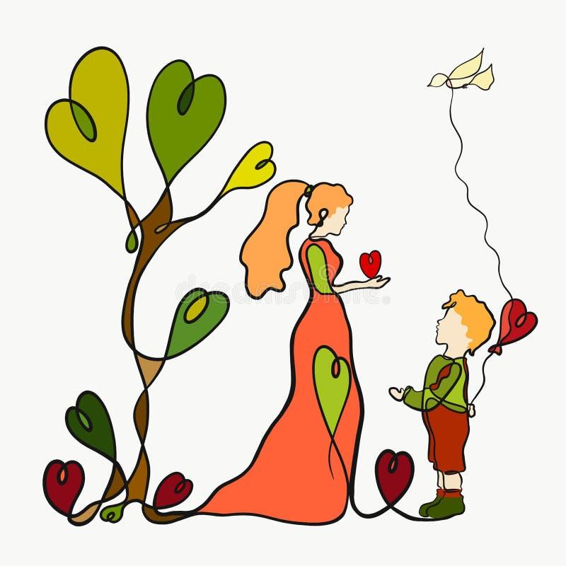 Het mamma en de zoon geven harten aan elkaar, die één lange lijn trekken royalty-vrije illustratie