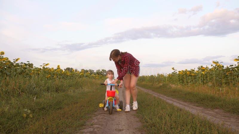 Het mamma onderwijst dochter om een fiets te berijden op een landweg op een gebied van zonnebloemen een klein kind leert om een f royalty-vrije stock foto's