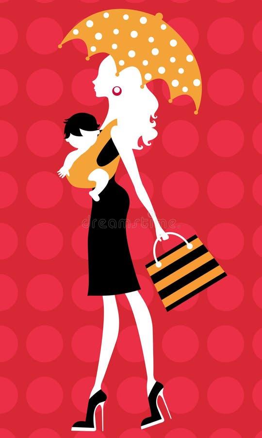 Het mamma van de manier met kind in slinger onder paraplu vector illustratie