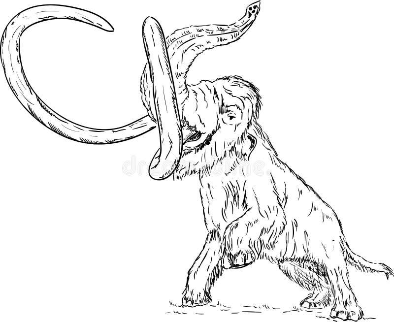 Het mammoet attaking royalty-vrije illustratie