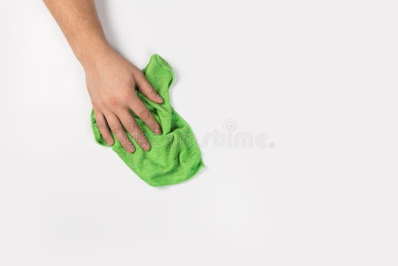 Het man hand schoonmaken op een witte achtergrond stock foto