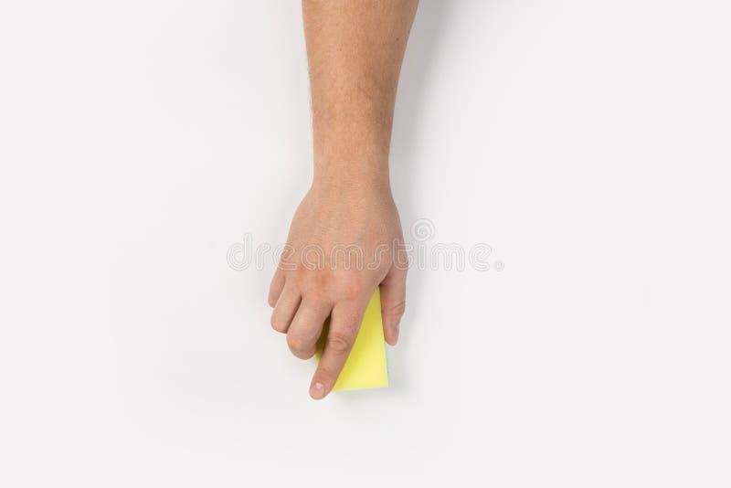 Het man hand schoonmaken op een witte achtergrond royalty-vrije stock foto