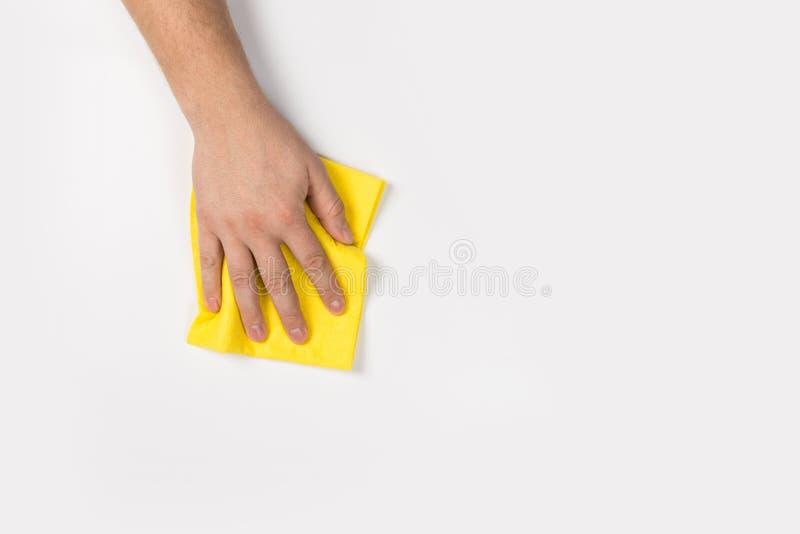 Het man hand schoonmaken op een witte achtergrond royalty-vrije stock afbeelding