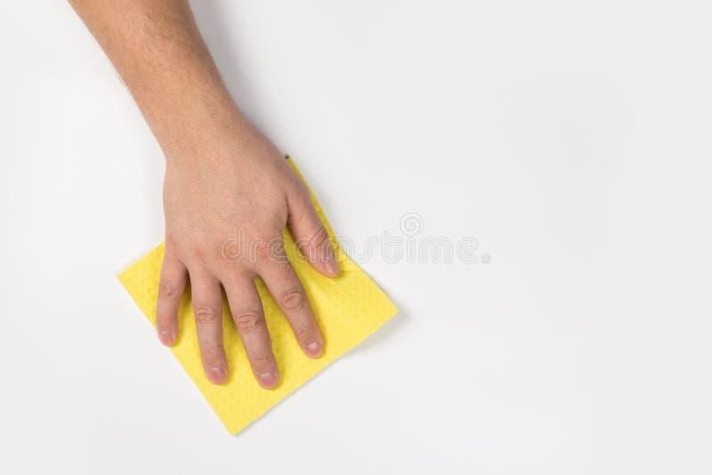 Het man hand schoonmaken op een witte achtergrond royalty-vrije stock fotografie