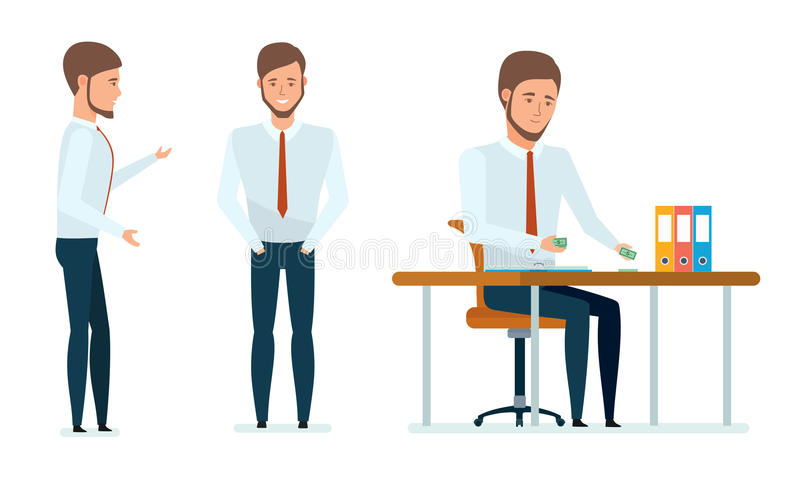 Het managerwerk met documenten, dient, adviseert cliënten, leidt geldverrichtingen stock illustratie