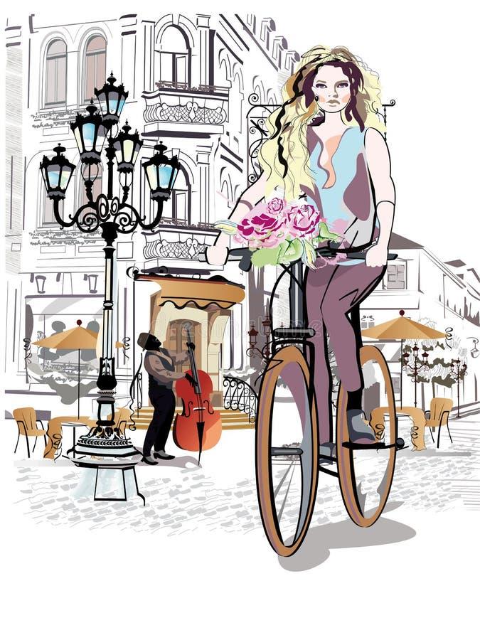 Het maniermeisje berijdt een fiets de straten van de oude stad vector illustratie