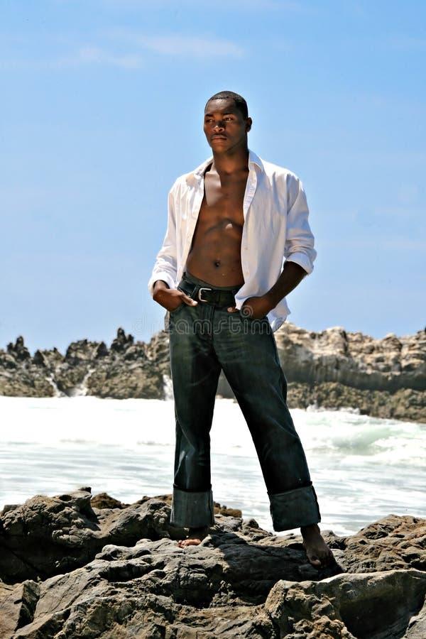 Het mannelijke Afrikaanse Amerikaanse Model Stellen op de Rots  royalty-vrije stock foto's