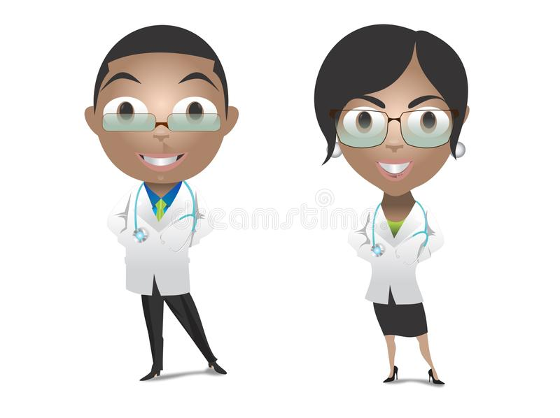 Het mannelijke en Vrouwelijke Artsen Glimlachen stock afbeelding