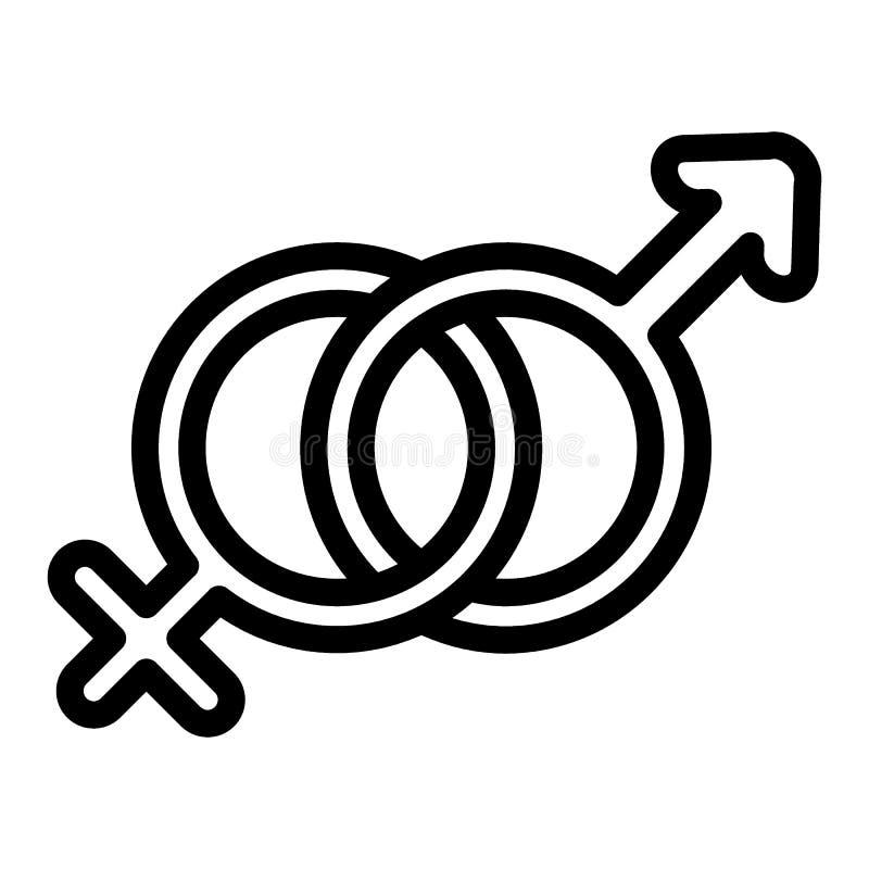 Het mannelijke en vrouwelijke pictogram van de symbolenlijn De vectordieillustratie van het geslachtsteken op wit wordt geïsoleer royalty-vrije illustratie
