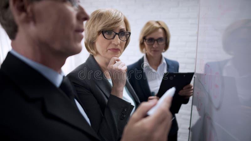 Het mannelijke en vrouwelijke spreken, commerciële vergadering van partners in bureau, gendergelijkheid royalty-vrije stock foto's
