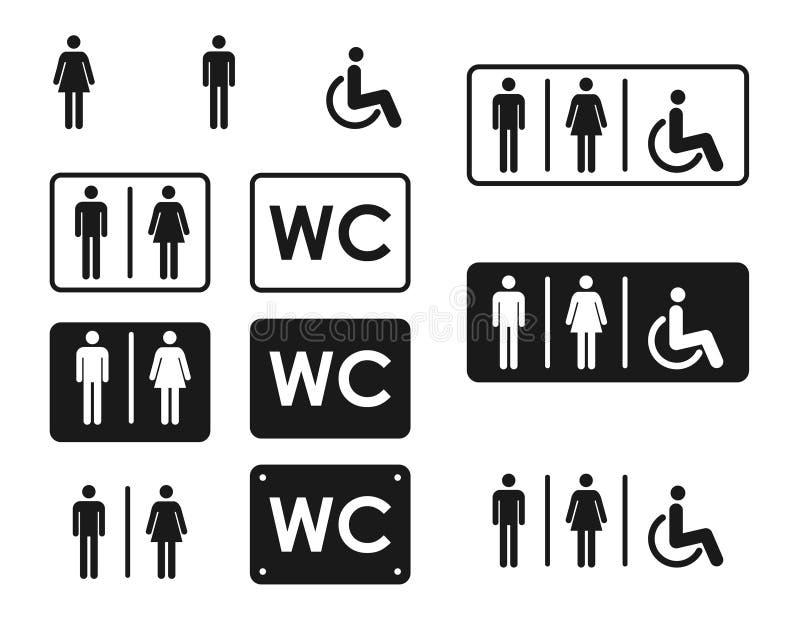 Het mannelijke en vrouwelijke vector, gevulde vlakke teken van het toiletpictogram, stevig pictogram WC-symbool, embleemillustrat royalty-vrije illustratie