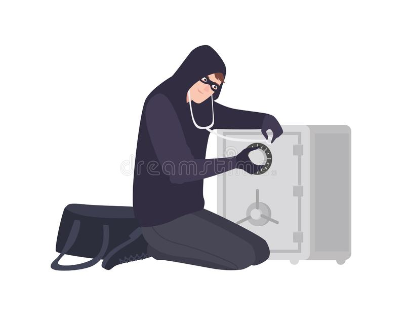 Het mannelijke inbreker dragen maskeren en hoodie het gebruiken van stethoscoop aan open brandkast of brandkast Diefstal, inbraak stock illustratie