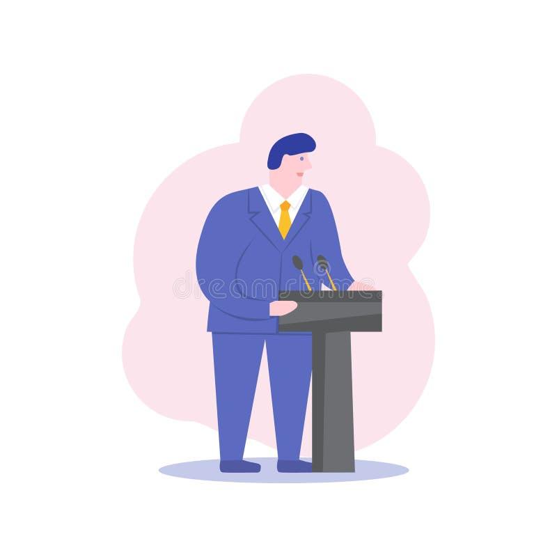 Het mannelijke karakter politicus van het bedrijfsceo sprekersbeeldverhaal E vector illustratie
