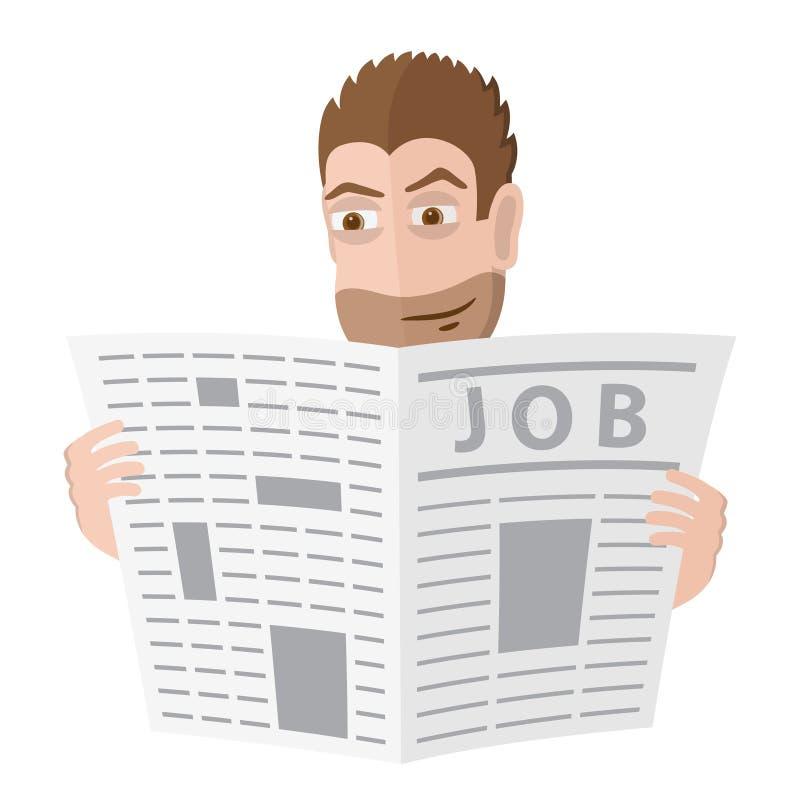 Het mannelijke karakter zoekt een baan in een krant Vector illustratie vector illustratie