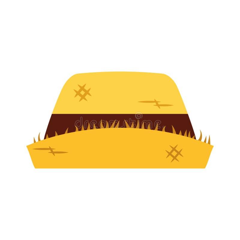 Het mannelijke pictogram van de landbouwershoed vector illustratie