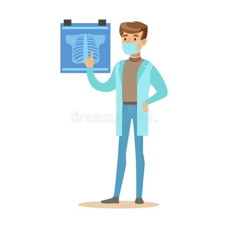 Het mannelijke Radioloog Eenvormige Werken van Artsenwearing medical scrubs in het het Ziekenhuisdeel van Reeks Gezondheidszorgsp royalty-vrije illustratie