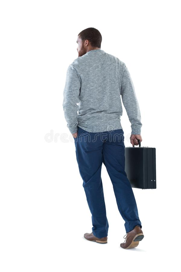 Het mannelijke uitvoerende lopen met aktentas stock afbeeldingen