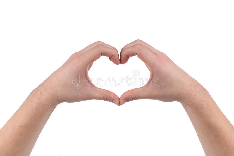 Het mannetje dient de vorm van hart in stock foto