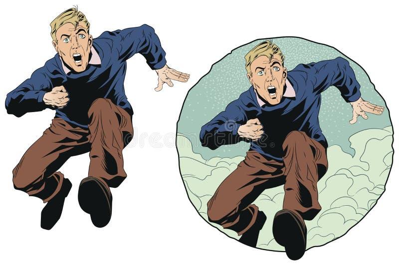 Het mannetje loopt en gilt De illustratie van de voorraad royalty-vrije illustratie