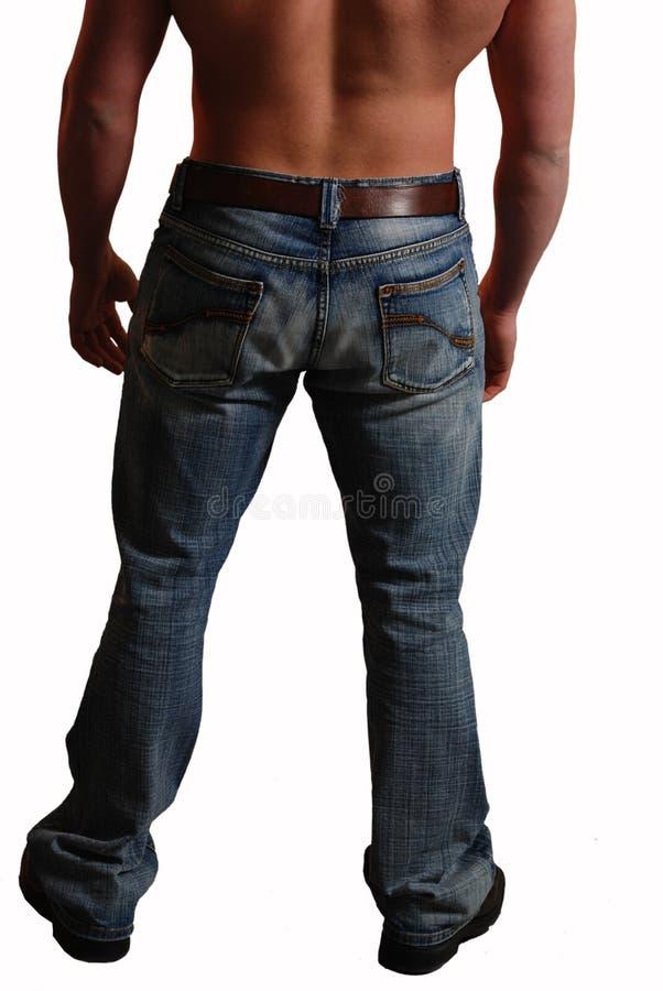 Het mannetje terug in jeans isoleerde wit royalty-vrije stock fotografie