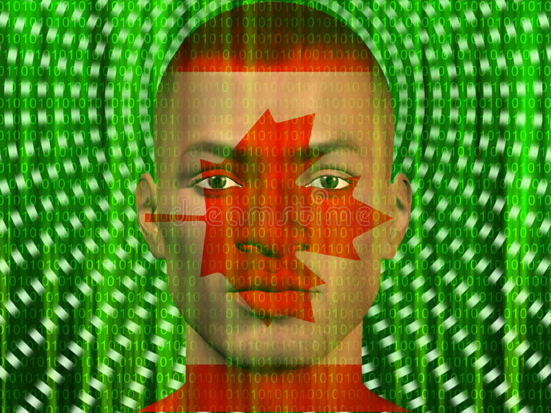Het Mannetje van Canada met Binair getal royalty-vrije illustratie