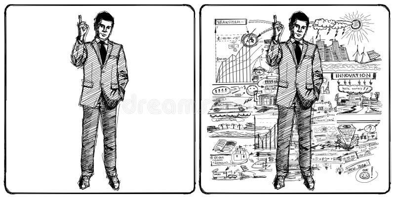 Het mannetje van de schets in kostuum royalty-vrije illustratie