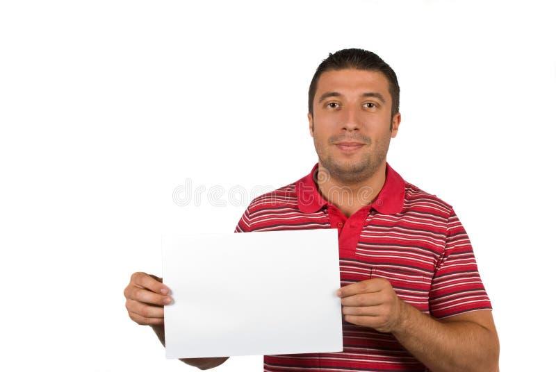 Het mannetje van de schoonheid met blanco pagina stock foto