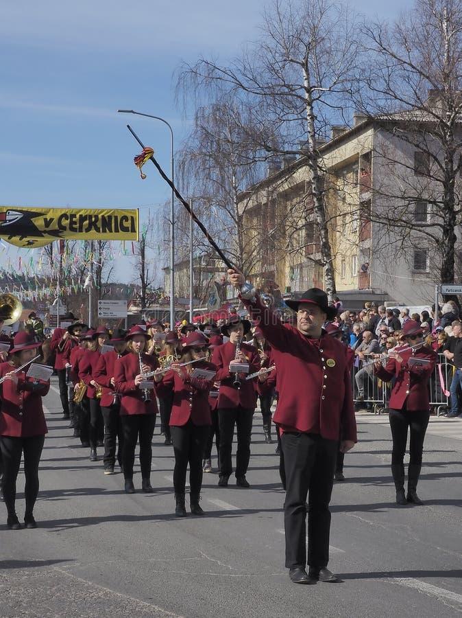 Het marcheren bandtamboer-majoor stock afbeeldingen