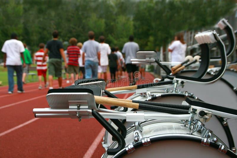 Het marcheren de Praktijk van de Band stock foto's
