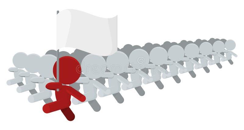 Het Marcheren van mensen de Contingente Illustratie van de Drager van de Vlag vector illustratie
