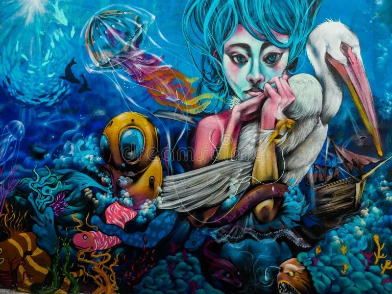 Het mariene art. van Chili Street Art royalty-vrije stock afbeelding