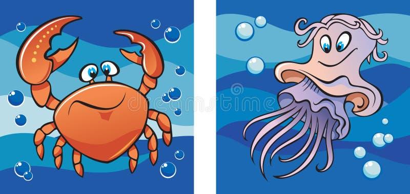 Het mariene leven: krab en kwallen royalty-vrije illustratie
