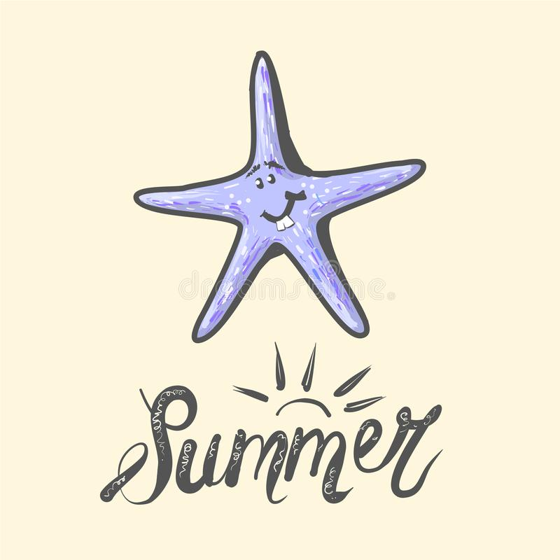 Het mariene leven Leuke karakter Overzeese ster Vectorillustratie voor kinderen met geïsoleerd beeld van grappig gelukkig beeldve vector illustratie