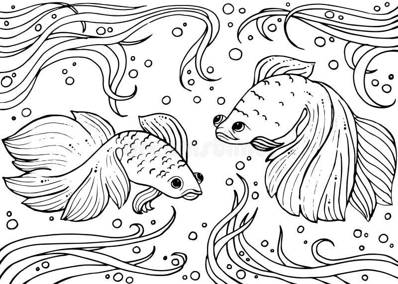 Het mariene leven Monochromhand getrokken achtergrond royalty-vrije illustratie