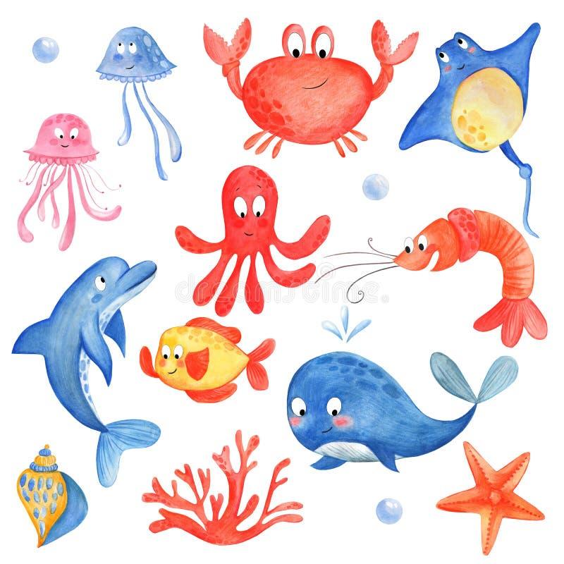 Het mariene leven: octopus, kwallen, pijlstaartrog, zeeschelp, koraal, dolfijn, vissen, zeester Naadloze ca royalty-vrije illustratie