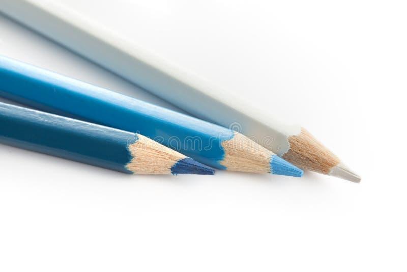 Het marineblauwe wit van de potloodkleur stock foto's